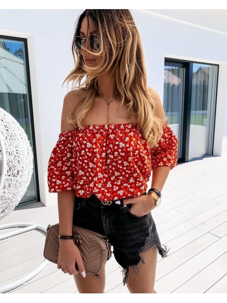 TOP COL BATEAU & FLOWERS RED