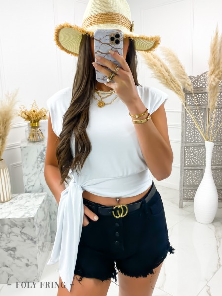 TOP A NOUER & EPAULETTES WHITE