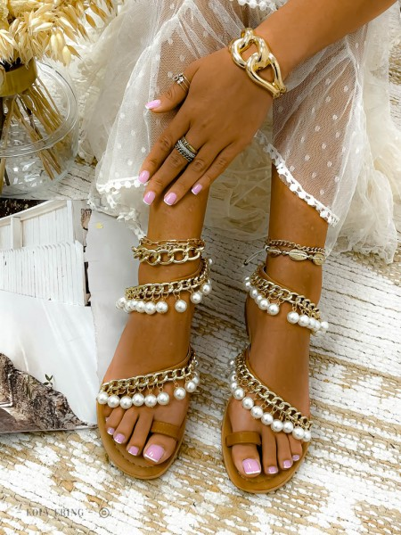 SANDALES CHAINE & PEARLS CAMEL