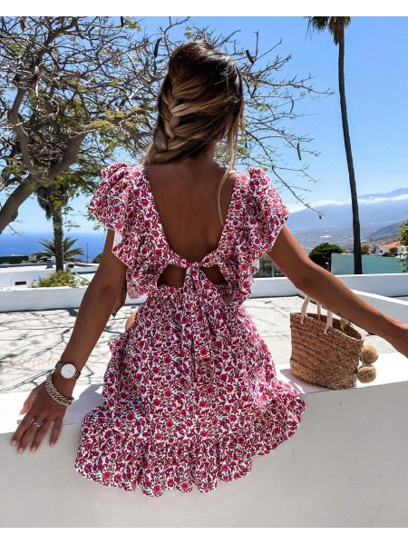 ROBE FLOWERS & BACKLESS RED