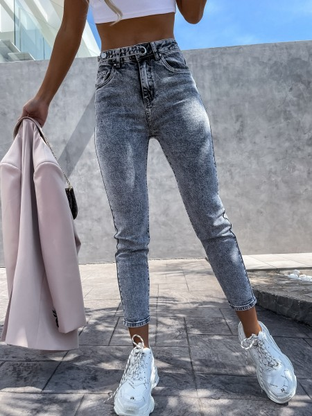 JEANS TAILLE HAUTE SUMMER GREY