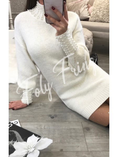 *** ROBE PULL MUST HAVE FASHIONISTA WHITE PERLES***
