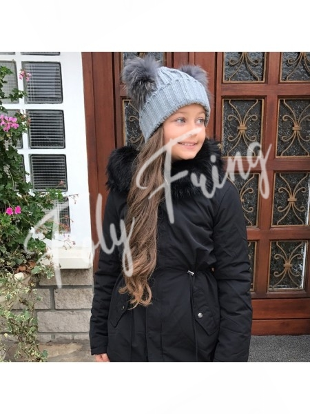 **** BONNET DOUBLE POMPOMS ENFANTS GREY***