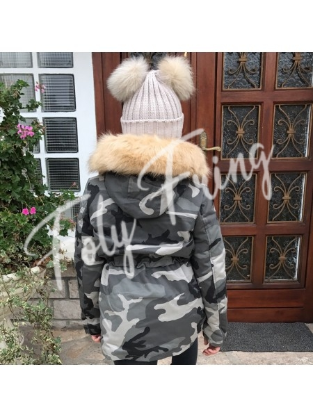 **** BONNET DOUBLE POMPOMS ENFANTS GREY NUDE***