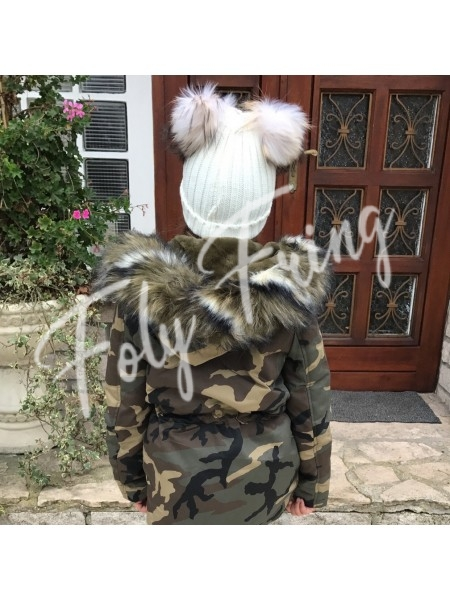 **** BONNET DOUBLE POMPOMS ENFANTS BLANC***