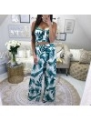 *** ENSEMBLE CROP TOP & PANTALON FLUIDE TROPICAL GREEN***