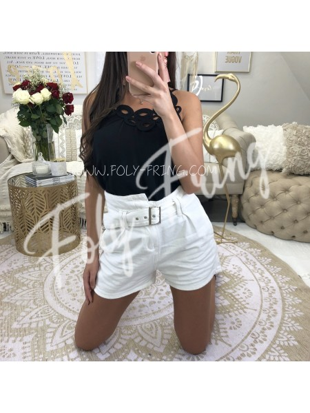 *** SHORT JEANS TAILLE HAUTE WHITE***