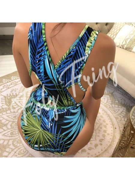 ***BODY / MAILLOT DE BAIN GREEN TROPICAL BLACK ***