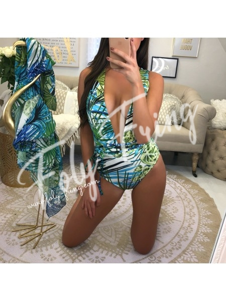 ***BODY / MAILLOT DE BAIN GREEN TROPICAL WHITE ***