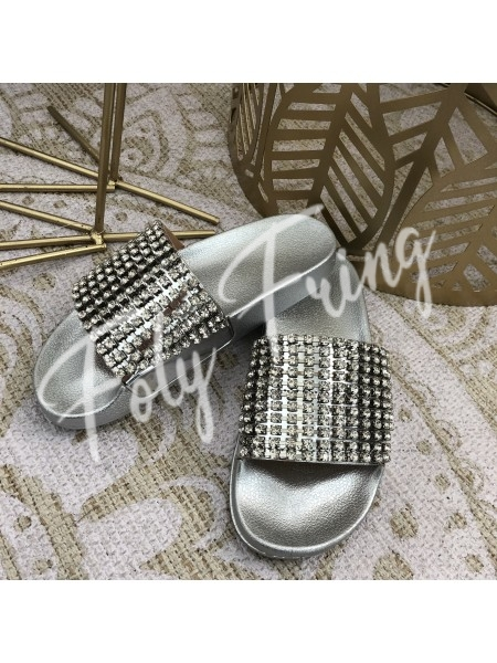 ***MULES DE PLAGE STRASS SILVER***
