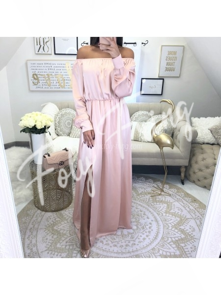 *** MAXI ROBE SATIN ROSE TENDRE ***