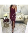*** ROBE LYCRA ASYMETRIQUE WINE ***