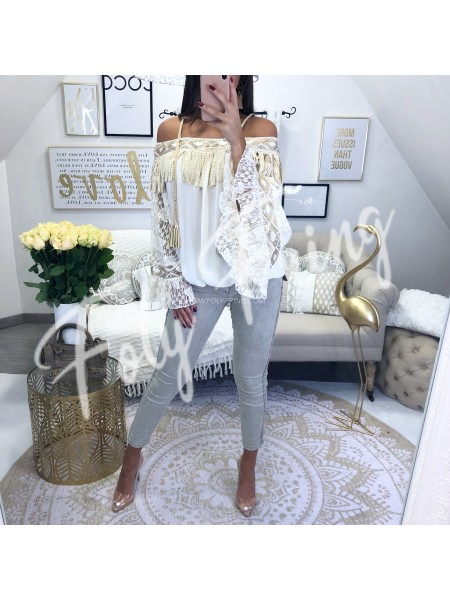 ***BLOUSE FRANGES BOHO NUDE & GOLD***