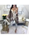 *** EDITION LIMITEE BLOUSE FRANGES & SEQUINS BROWN ***