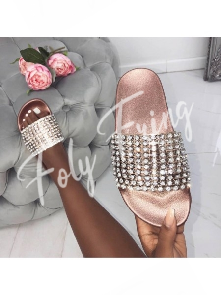 ***MULES DE PLAGE STRASS ROSE GOLD***