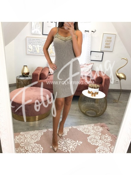 *** ROBE MAILLE MAXI DENTELLE TAUPE ***