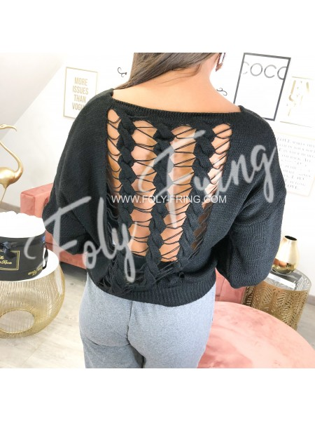 *** PULL MAILLE AJOUREE GRIS PERLE ***