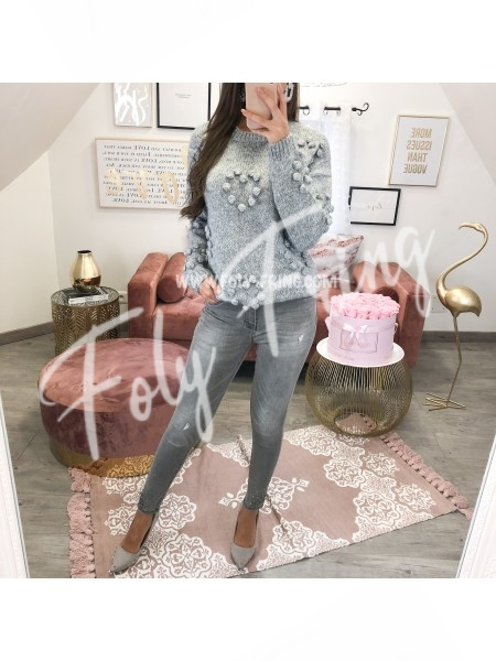 *** PULL POMPONS COEURS GREY ***
