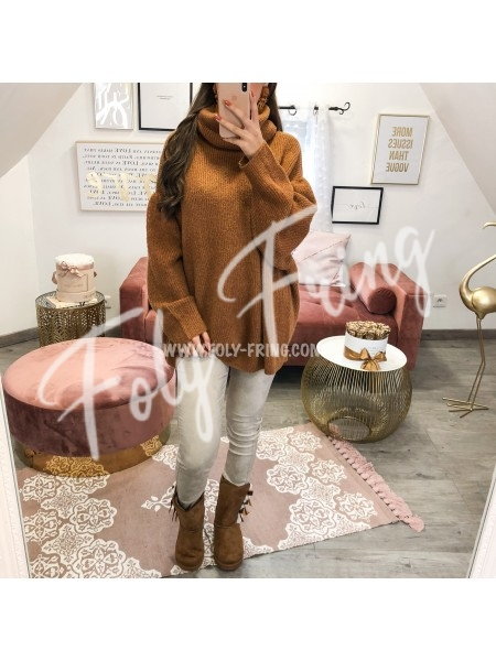 *** PULL COL ROULE OVERSIZE CAMEL***