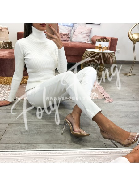 *** PULL COL ROULE WHITE  ***