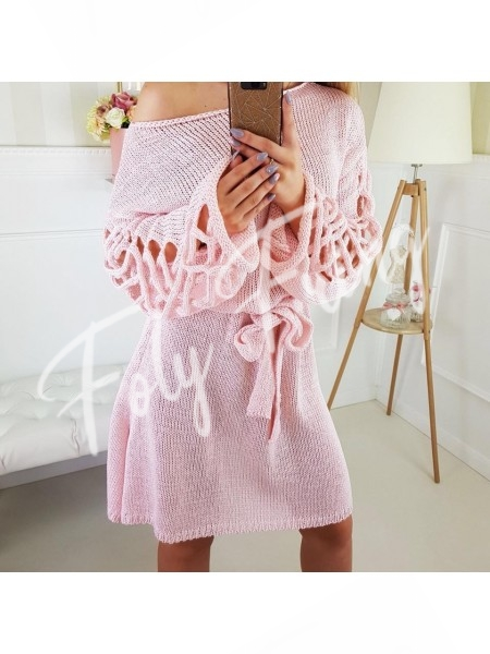 **** ROBE PULL MANCHES TORSADES ROSE TENDRE ****