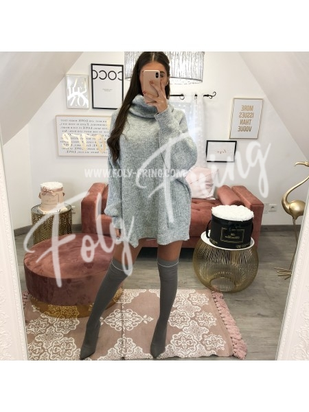 *** PULL COL ROULE OVERSIZE GREY ***