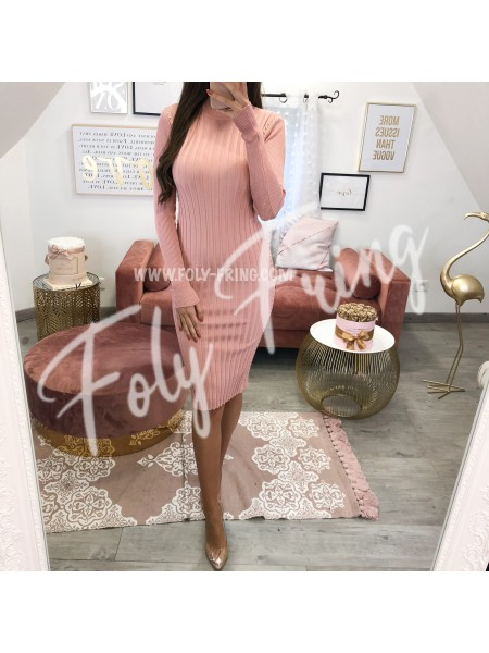 **** ROBE MAILLE CLOUTEE BOIS DE ROSE ***