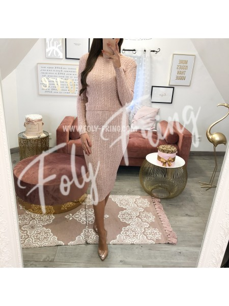 **** ENSEMBLE JUPE & TOP MAILLE TORSADES BOIS DE ROSE ***
