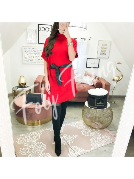 *** ROBE PULL COL ROULE CEINTURE RED ***
