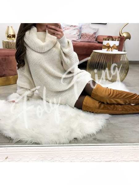 *** ROBE PULL COL ROULE OVERSIZE NUDE ***