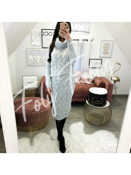 **** ENSEMBLE 3 PIECES JUPE & PULL GREY ***
