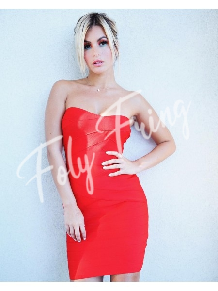 *** COLLECTION LIMITEE ROBE BANDAGE BUSTIER RED ***