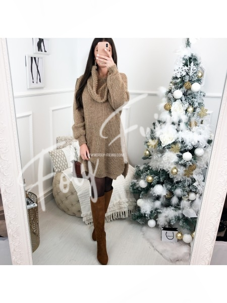 *** ROBE PULL MAXI COL ROULE CAMEL ***