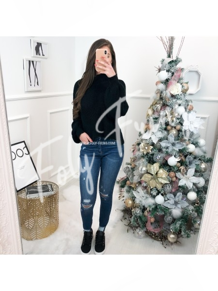 *** PULL CROPPED COL HAUT BLACK ***