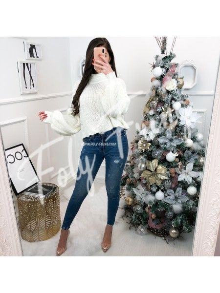 *** PULL CROPPED COL HAUT WHITE ***