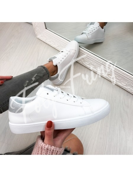 *** SNEAKERS WHITE & SILVER ***