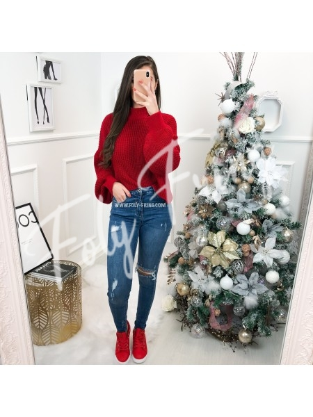 *** PULL CROPPED COL HAUT RED ***