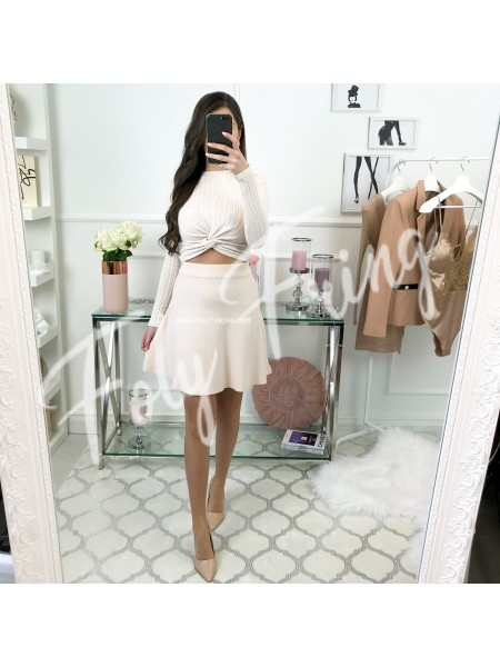*** CROP TOP CROISE COL ROND ROSE TENDRE ***