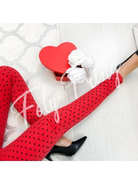*** JEANS  SKINNY  A POIS RED ***