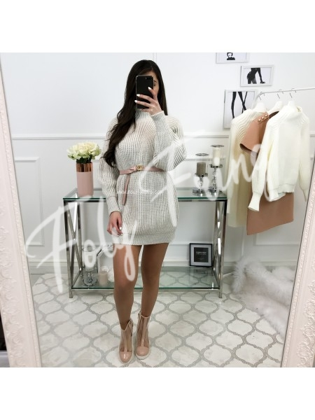 *** ROBE PULL COL MONTANT NUDE ***