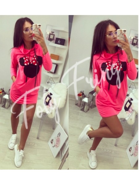 **** ROBE SWEAT MINNIE NEON PINK ****