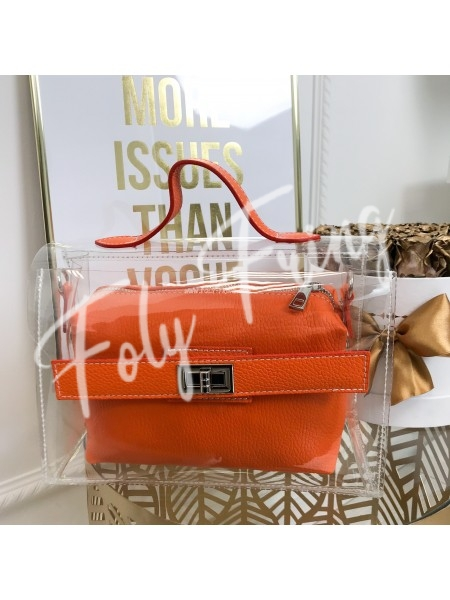 *** SAC CUIR & PLEXI KARL ORANGE ***