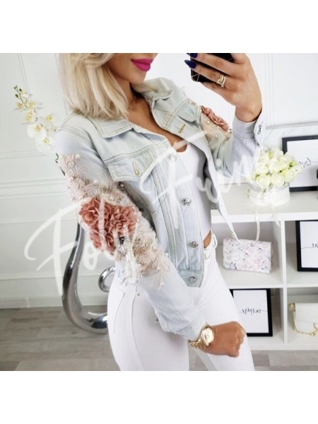 *** EDITION LIMITEE VESTE JEANS 3D FLOWERS PREMIUM COLLECTION ***