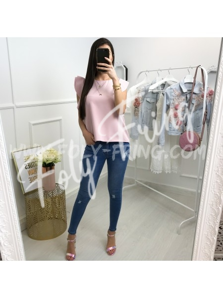 *** TOP COL ROND CHIC ROSE TENDRE ***