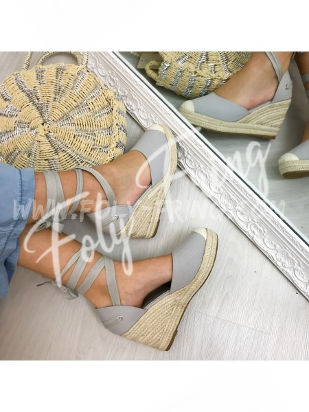 *** ESPADRILLES COMPENSEES LACE ME GREY ***