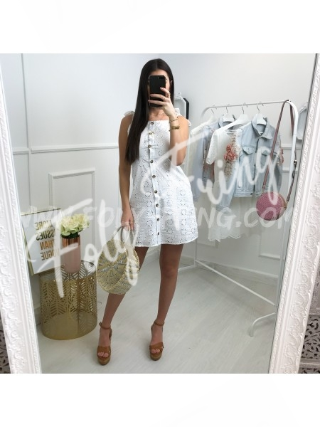 *** COLLECTION BOHEME ROBE AJOUREE BOUTONS ET NOEUDS WHITE ***