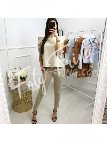 *** TOP COL ROND CHIC NUDE ***
