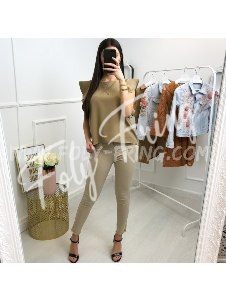 *** TOP COL ROND CHIC CAMEL ***