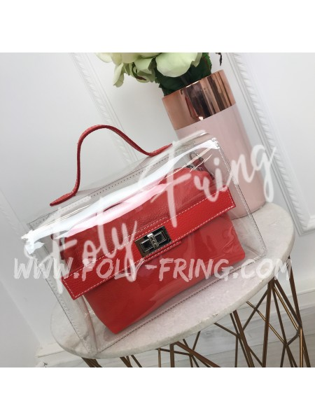 *** SAC CUIR & PLEXI KARL RED ***