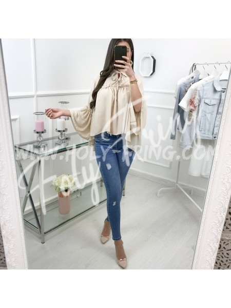 *** BLOUSE COL NOUE NUDE ***